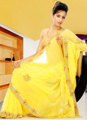 Yellow Georgette Hand Embroidery Designer Saree