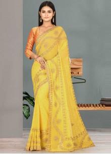 Yellow Georgette Handwork Designer Traditional Saree