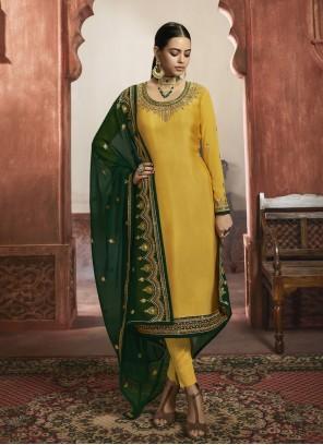 Yellow Georgette Satin Wedding Designer Salwar Kameez