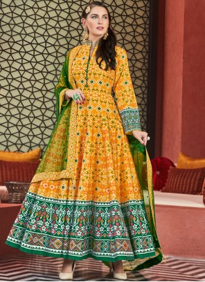 Yellow Handwork Readymade Anarkali Salwar Suit