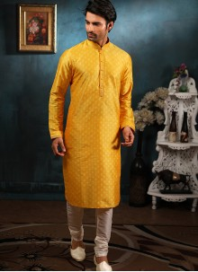 Yellow Jacquard Ceremonial Indo Western