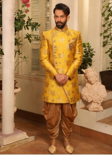 Yellow Jacquard Silk Embroidered Indo Western