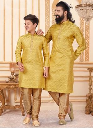 Yellow Jacquard Silk Kurta Pyjama