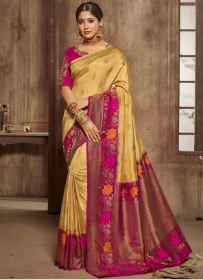 Yellow Jacquard Silk Thread Traditional Saree