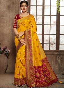 Yellow Jacquard Silk Wedding Designer Traditional Saree