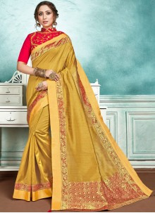 Yellow Jute Silk Border Designer Saree
