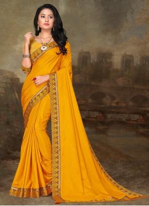Yellow Lace Art Silk Traditional Saree