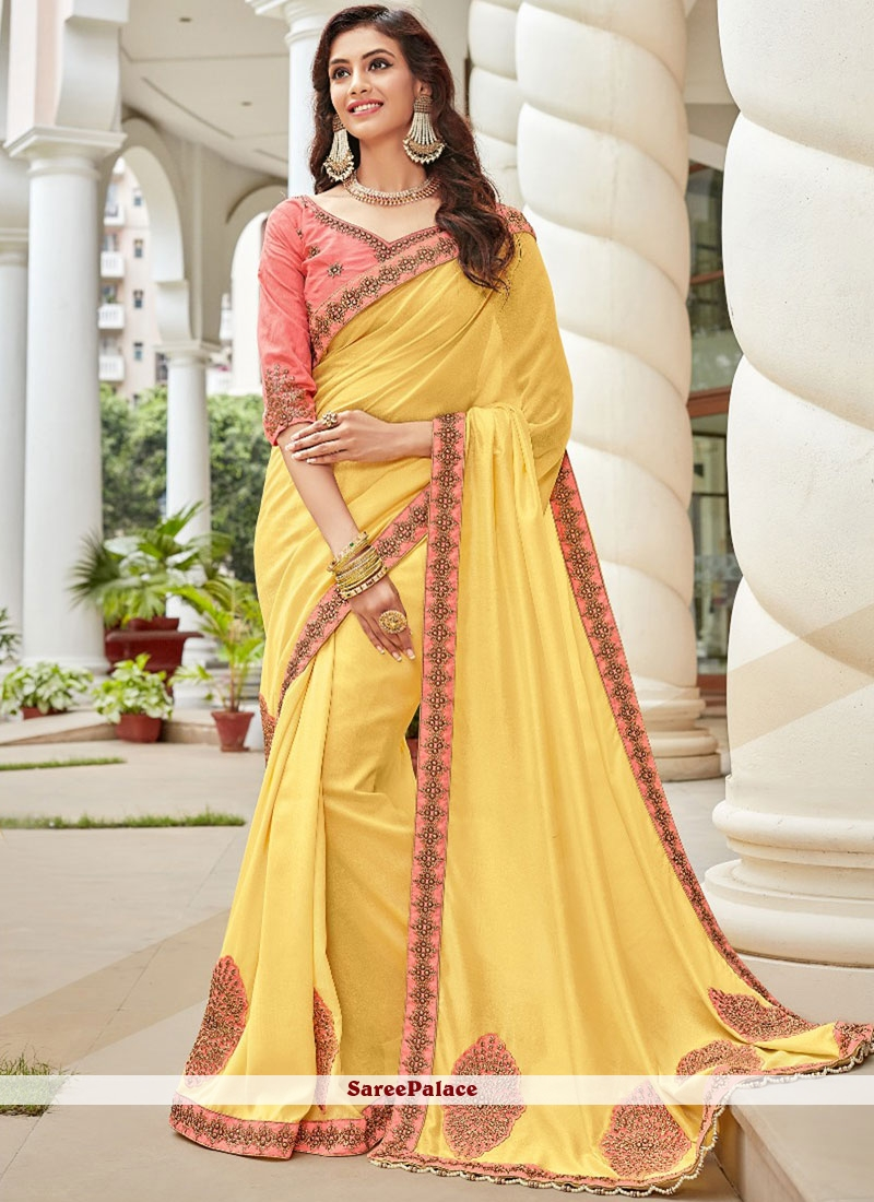 Yellow Lace Art Silk Trendy Saree