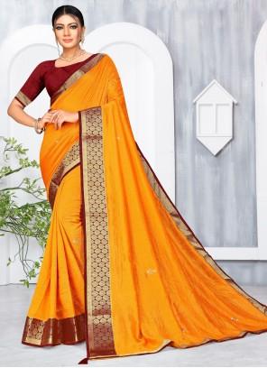 Yellow Lace Silk Classic Saree