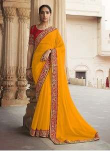 Yellow Lace Silk Traditional Saree