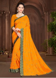 Yellow Lace Vichitra Silk Traditional Saree