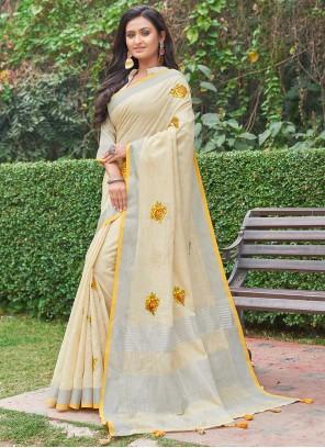 Yellow Linen Casual Saree
