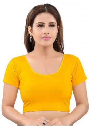 Yellow Lycra Plain Designer Blouse