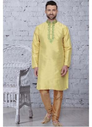 Yellow Mehndi Art Dupion Silk Kurta Pyjama