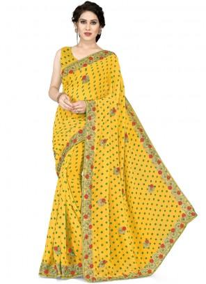 Yellow Mehndi Casual Saree