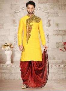 Yellow Mehndi Cotton Silk Dhoti Kurta