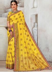 Yellow Mehndi Designer Saree