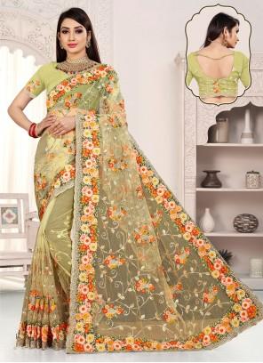 Yellow Net Beads Designer Saree