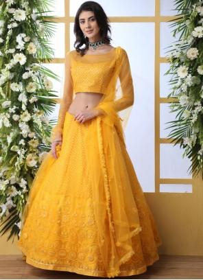Yellow Net Ceremonial Lehenga Choli