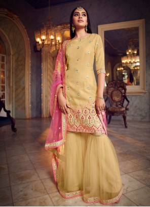 Yellow Net Designer Pakistani Salwar Suit