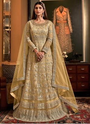 Yellow Net Embroidered Floor Length Anarkali Salwar Suit