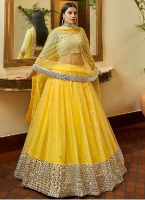 Yellow Net Sangeet A Line Lehenga Choli