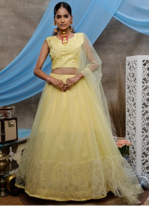 Yellow Net Sequins Bollywood Lehenga Choli