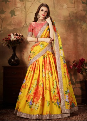 Yellow Organza Floral Print Trendy A Line Lehenga Choli