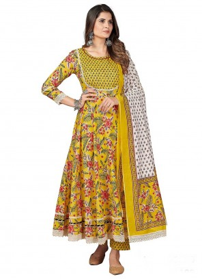 Yellow Party Anarkali Suit