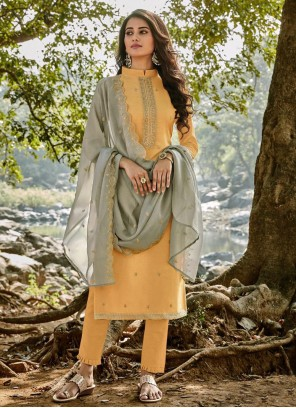 Yellow Party Chanderi Pant Style Suit