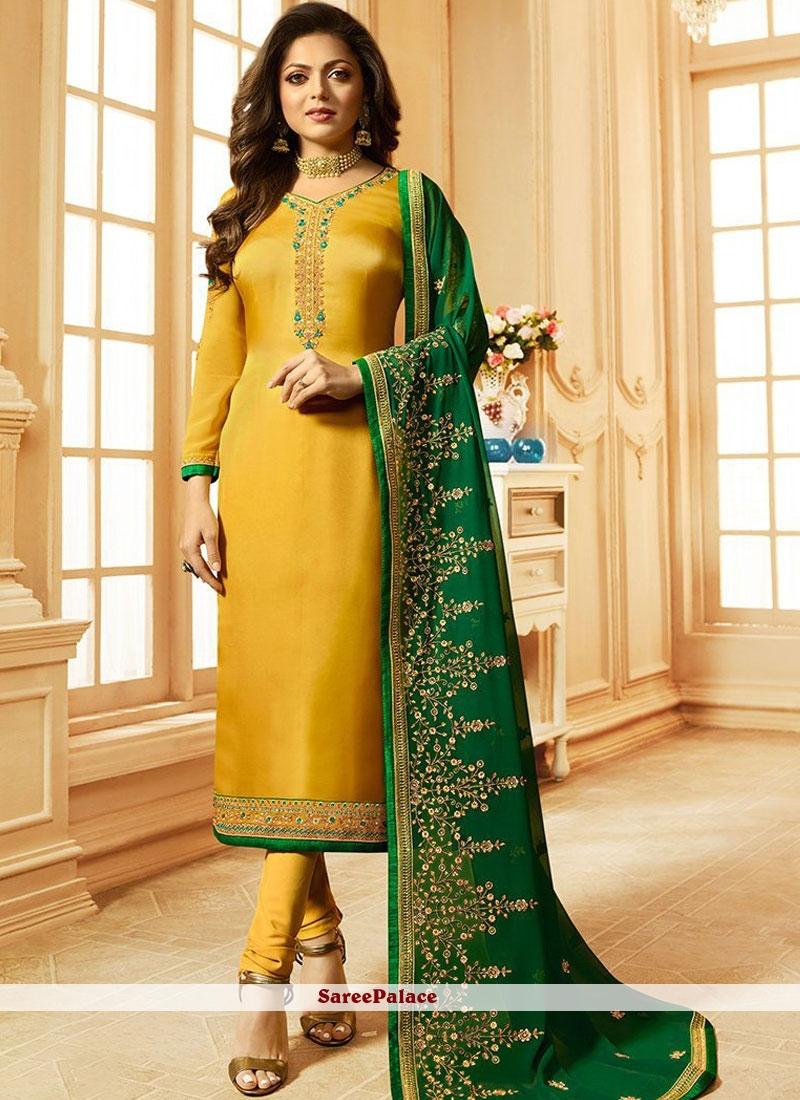 Yellow Party Churidar Suit