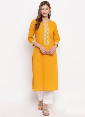 Yellow Party Cotton Casual Kurti