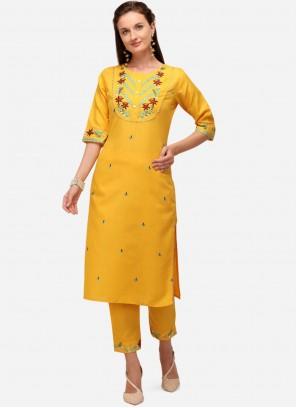 Yellow Party Cotton Party Wear Kurti