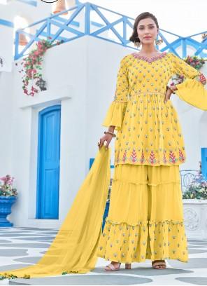 Yellow Party Georgette Palazzo Salwar Kameez