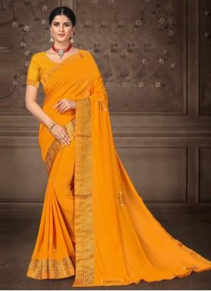 Yellow Party Silk Bollywood Saree