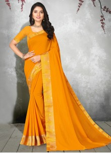 Yellow Party Silk Designer Saree