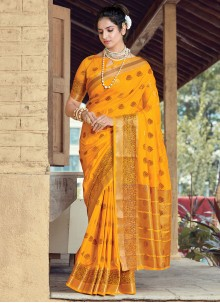 Yellow Party Traditional Saree