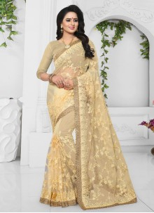 Yellow Patch Border Bridal Designer Saree