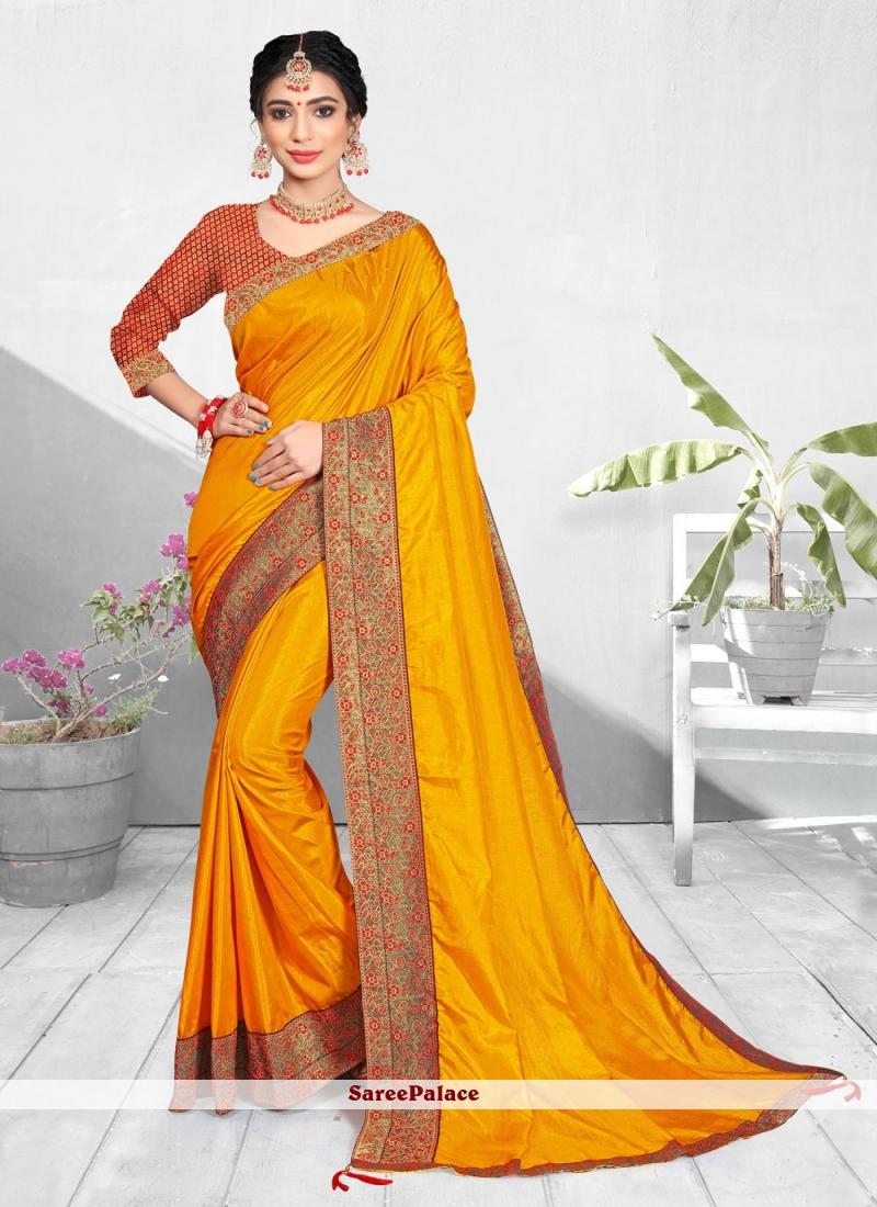 Yellow Patch Border Designer Traditional Saree