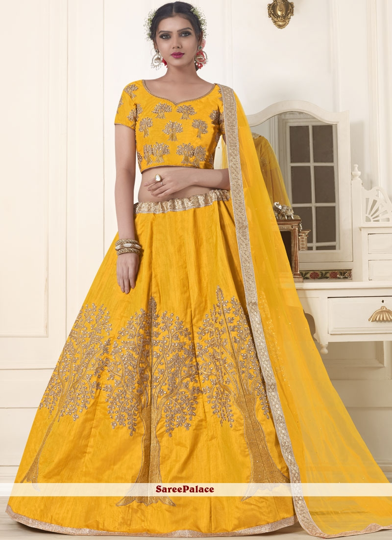 Yellow Patch Border Mehndi Lehenga Choli