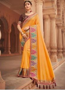 Yellow Patch Border Silk Traditional Designer Saree