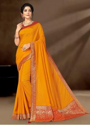 Yellow Patch Border Trendy Saree