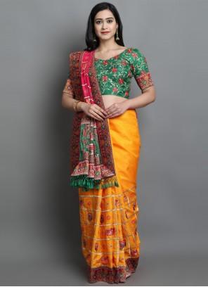 Yellow Patola Print Sangeet Designer Traditional Saree