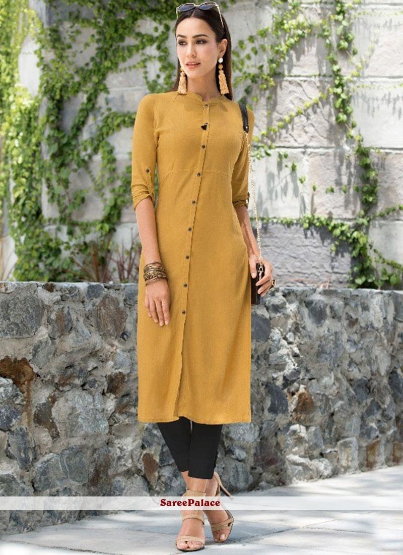 Yellow Plain Casual Party Wear Kurti