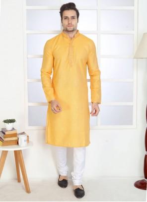 Yellow Plain Reception Kurta Pyjama