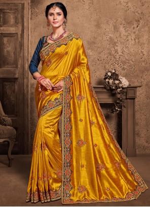 Yellow Poly Silk Designer Saree