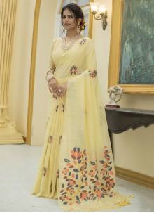 Yellow Print Classic Designer Saree