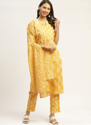 Yellow Print Cotton Readymade Suit