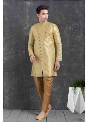 Yellow Print Engagement Indo Western