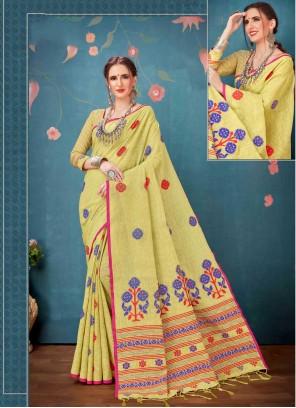 Yellow Linen Cotton Printed Saree